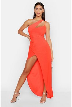 Orange One Shoulder Maxi Dress