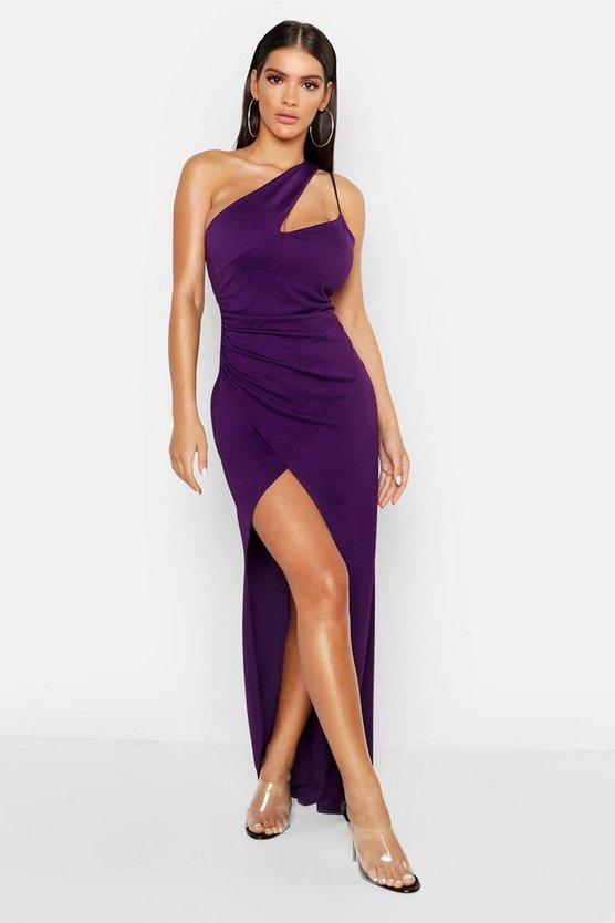 Womens Purple One Shoulder Maxi Dress
