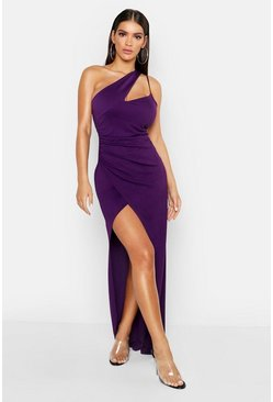 One Shoulder Maxi Dress, Purple, Donna