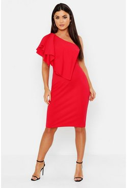 Red Ruffle One Shoulder Midi Dress
