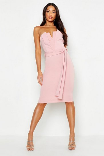 Womens Dusky pink U Bar Midi Dress