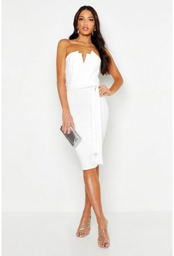 Womens White U Bar Midi Dress