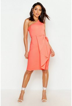Womens Neon-coral One Shoulder Midi Dress