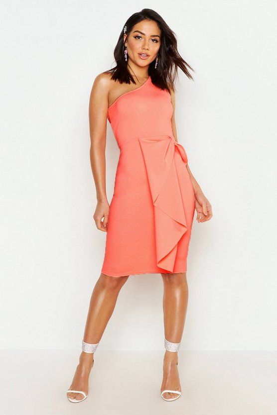 One Shoulder Midi Dress, Neon-coral, Donna