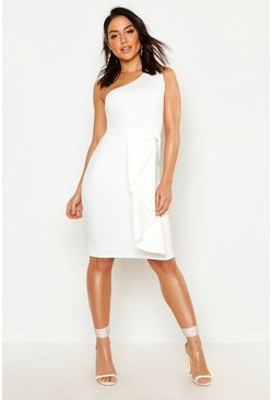 Womens White One Shoulder Midi Dress