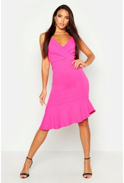 Womens Hot pink Ruffle Midi Dress