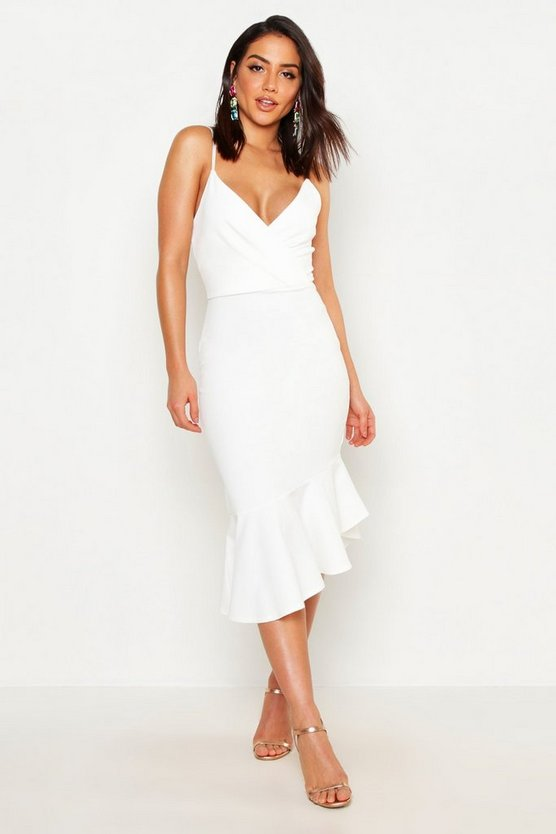 Womens White Ruffle Midi Dress