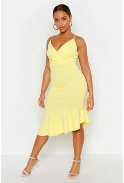 Womens Yellow Ruffle Midi Dress