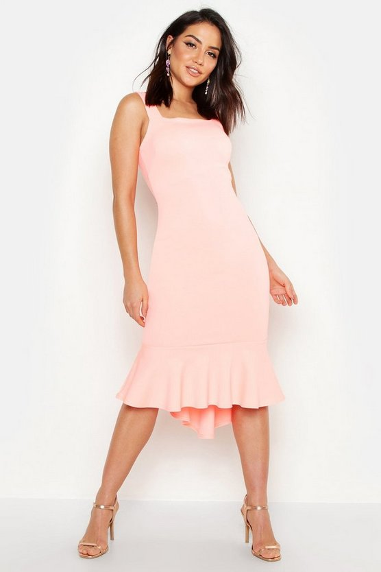 Womens Neon-coral Square Neck Fishtail Midi Dress