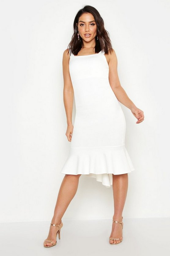 Womens White Square Neck Fishtail Midi Dress