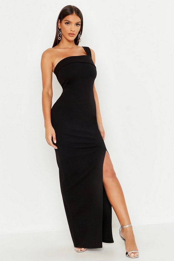 One Shoulder Thigh Split Maxi Dress, Black, Donna