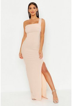 One Shoulder Thigh Split Maxi Dress, Blush, Donna