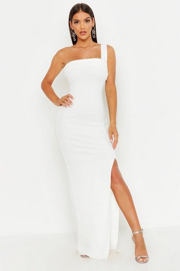 Womens Ivory One Shoulder Thigh Split Maxi Dress
