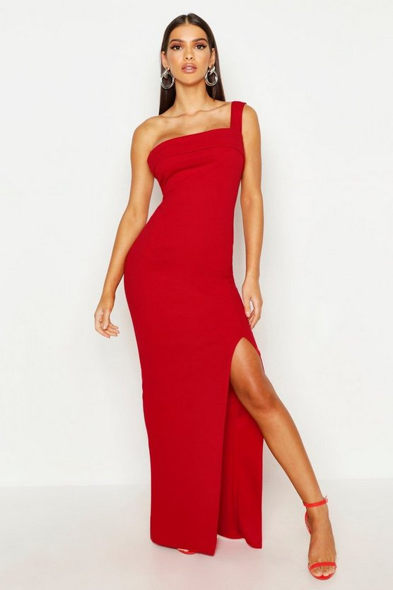 Womens Red One Shoulder Thigh Split Maxi Dress