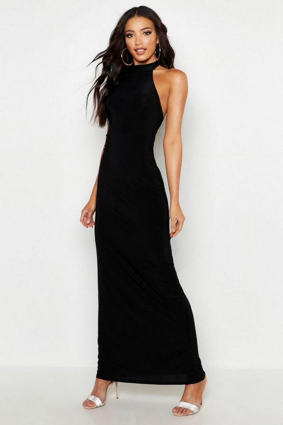 Womens Black High Neck Slinky Maxi Dress