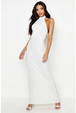 Womens Ivory High Neck Slinky Maxi Dress