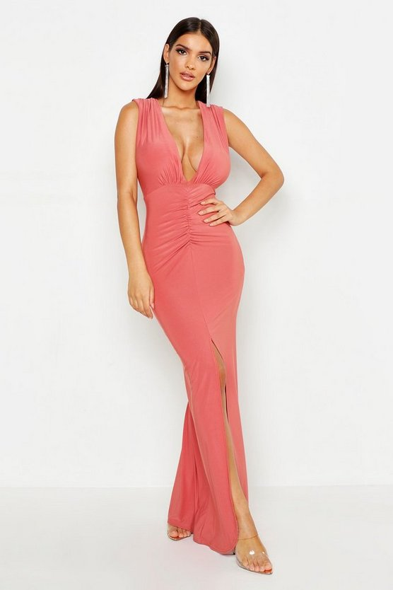 Womens Antique rose Plunge Ruched Slinky Maxi Dress