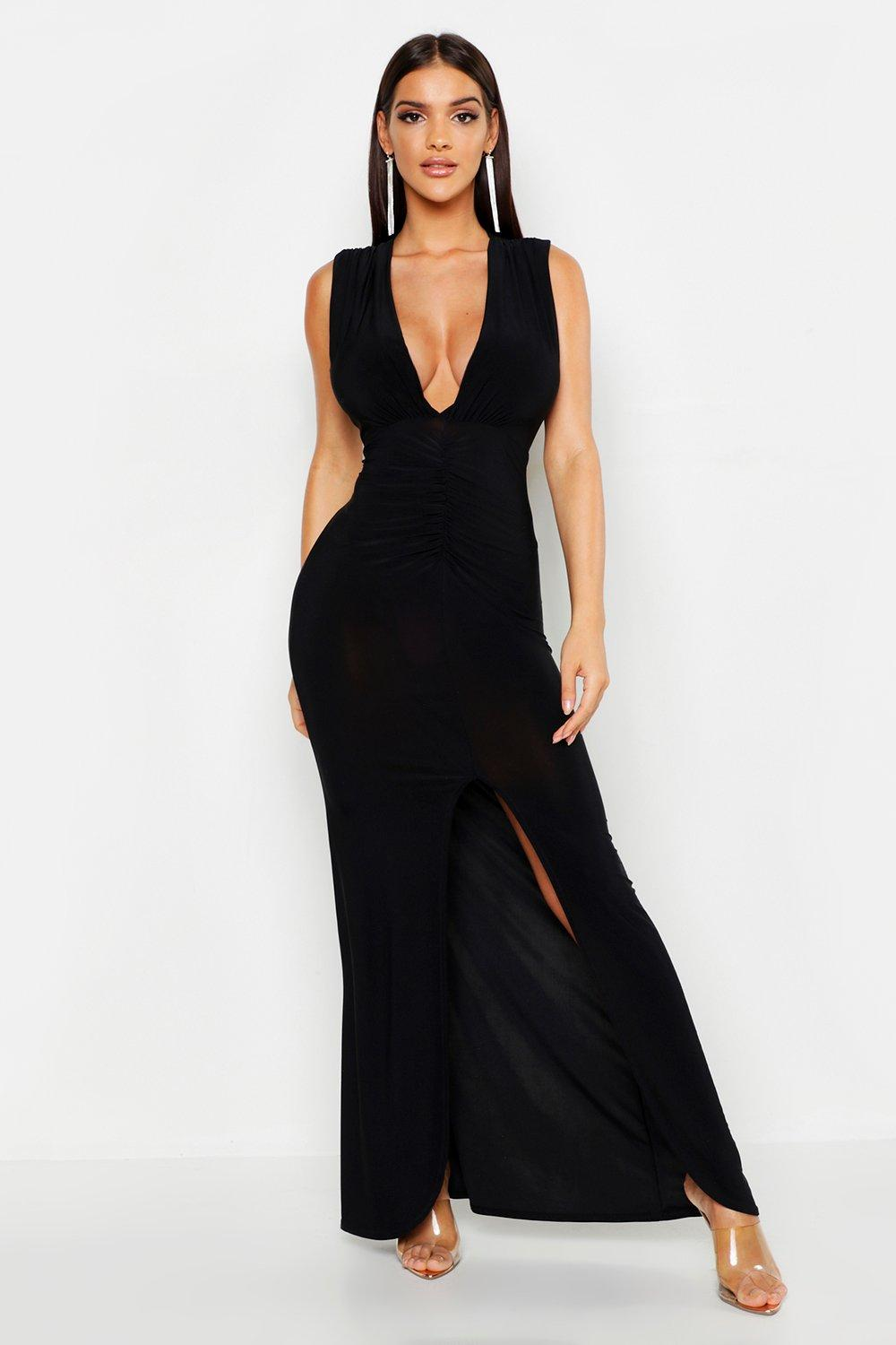 Plunge Ruched Slinky Maxi Dress