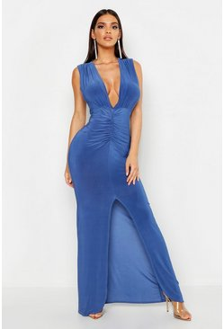 Womens Vintage blue Plunge Ruched Slinky Maxi Dress