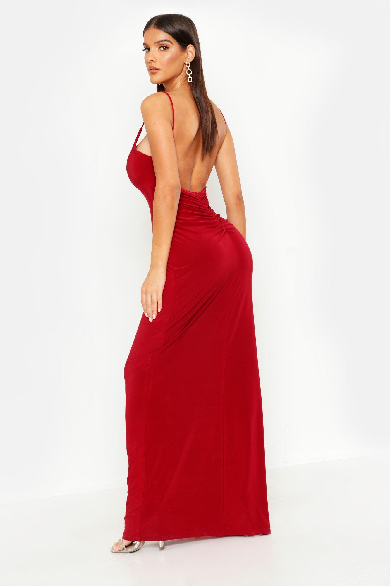 Plunge Back Ruched Maxi Dress