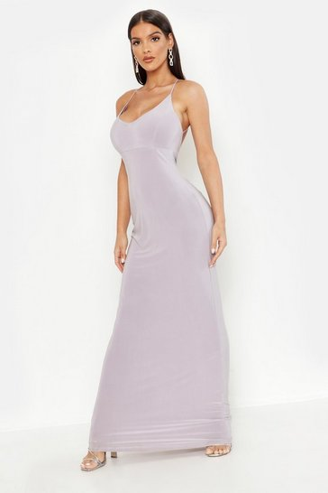Womens Silver Plunge Back Ruched Maxi Dress