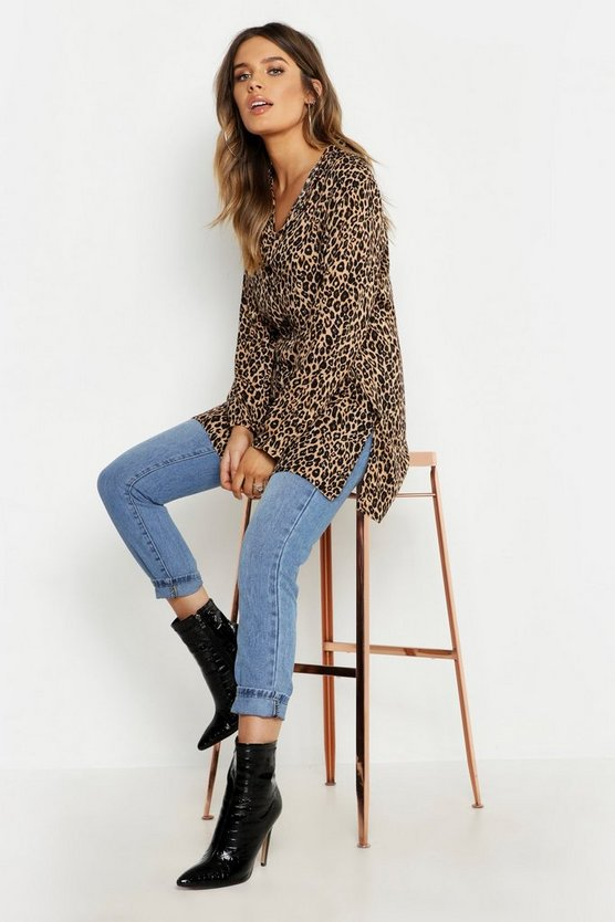 Womens Brown Leopard Oversized Shirt