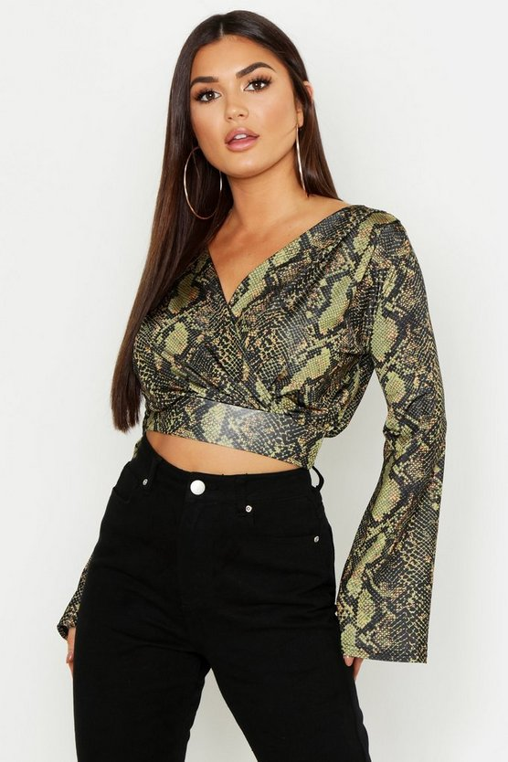 Black Snake Print Wrap Slinky Crop Top
