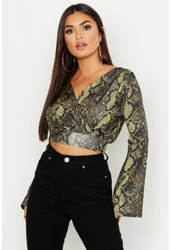 Womens Black Snake Print Wrap Slinky Crop Top