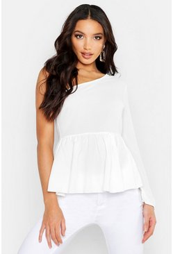 Womens Cream Woven One Shoulder Peplum