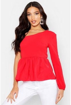 Woven One Shoulder Peplum, Red, Donna