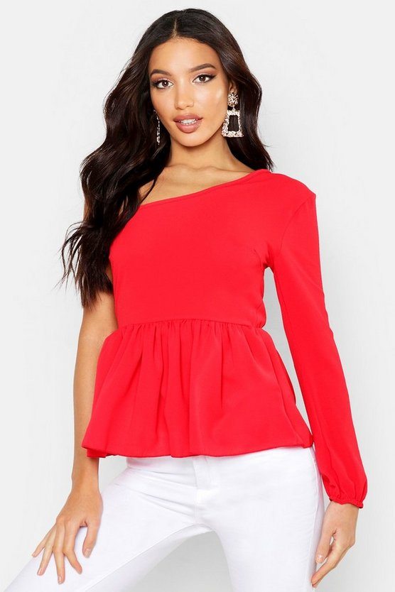 Womens Red Woven One Shoulder Peplum