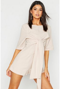 Womens Stone Linen Twist Tie Playsuit