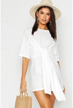 White Twist Tie Playsuit