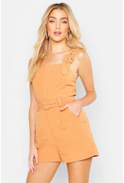 Womens Ochre Belted Buckle Strap Playsuit