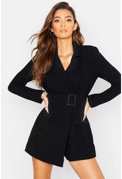 Black Linen Belted Blazer Playsuit