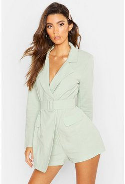 Womens Sage Linen Belted Blazer Playsuit