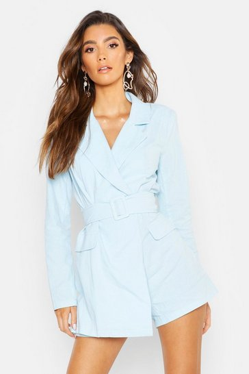 Womens Baby blue Linen Belted Blazer Playsuit