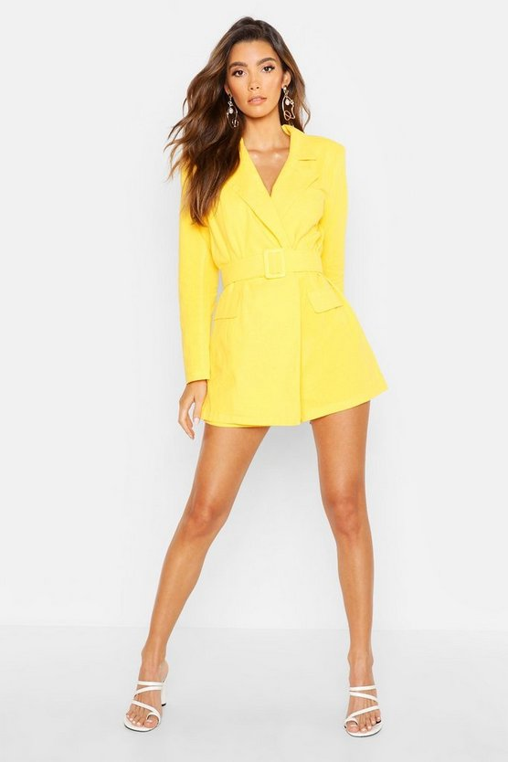 Womens Lemon Linen Belted Blazer Playsuit