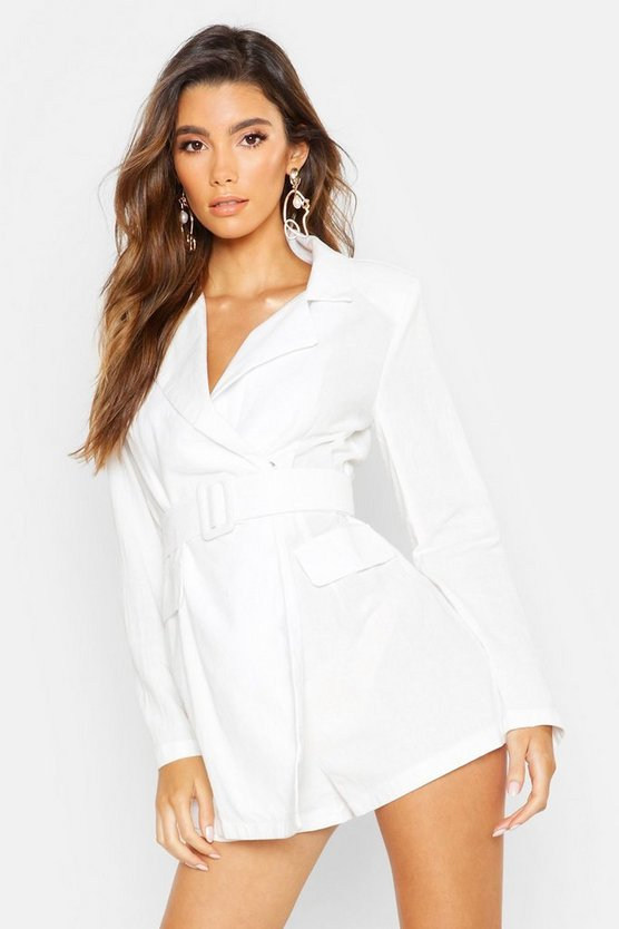 Womens White Linen Belted Blazer Playsuit