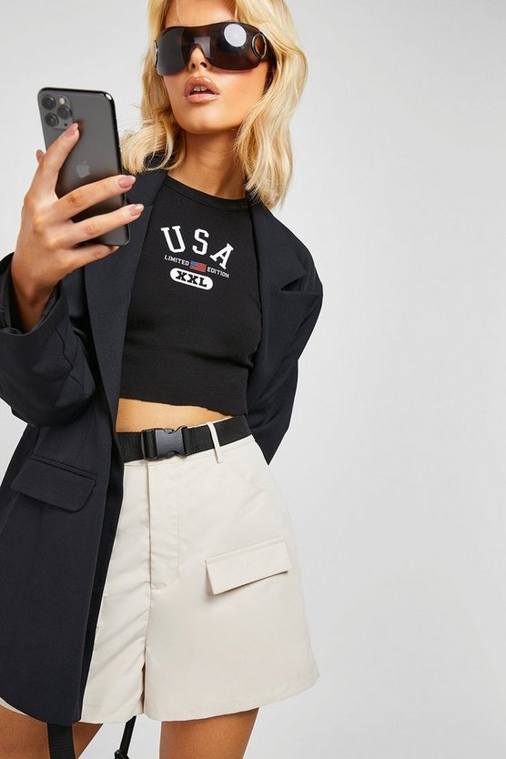 Womens Stone Safety Buckle Cargo Shorts