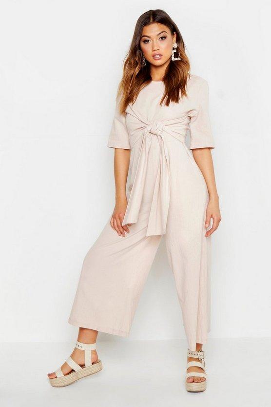 Linen Twist Tie Culotte Jumpsuit by Boohoo