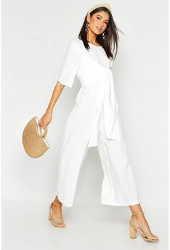 Womens White Linen Twist Tie Culotte Jumpsuit