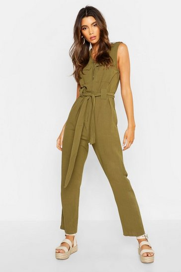 Womens Khaki Linen Pocket Tie Waist Jumpsuit