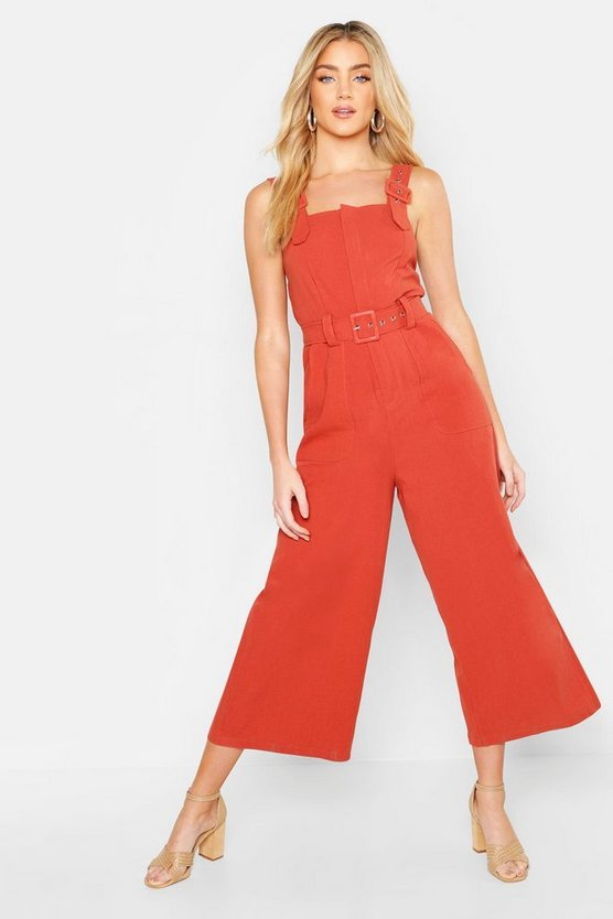 Womens Rust Linen Belted Buckle Strap Jumpsuit
