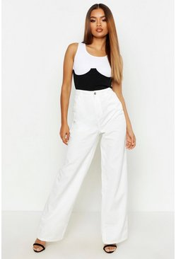 High Rise Rigid Wide Leg Jeans, White, Donna