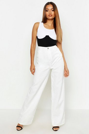 Womens White High Rise Rigid Wide Leg Jeans