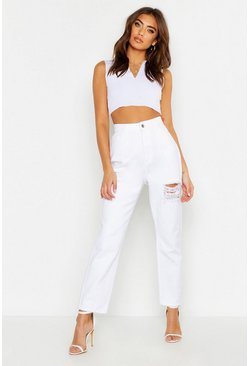 High Rise Rigid Distressed Boyfriend Jeans, White, Donna