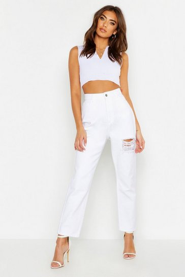 Womens White High Rise Rigid Distressed Boyfriend Jeans