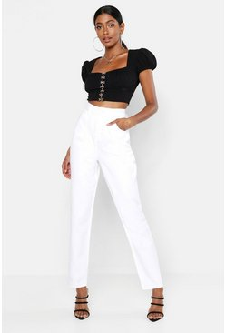 Womens White High Waisted Mom Jeans