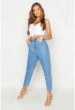 Womens Light blue High Waisted Mom Jean